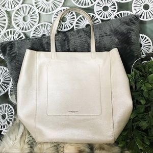 Kenneth Cole oversized zip pearl white zipper tote